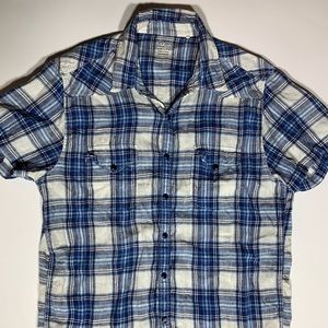 Lucky Brand Plaid Short Sleeves Snaps Button